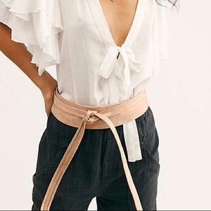 Gray leather wrap belt